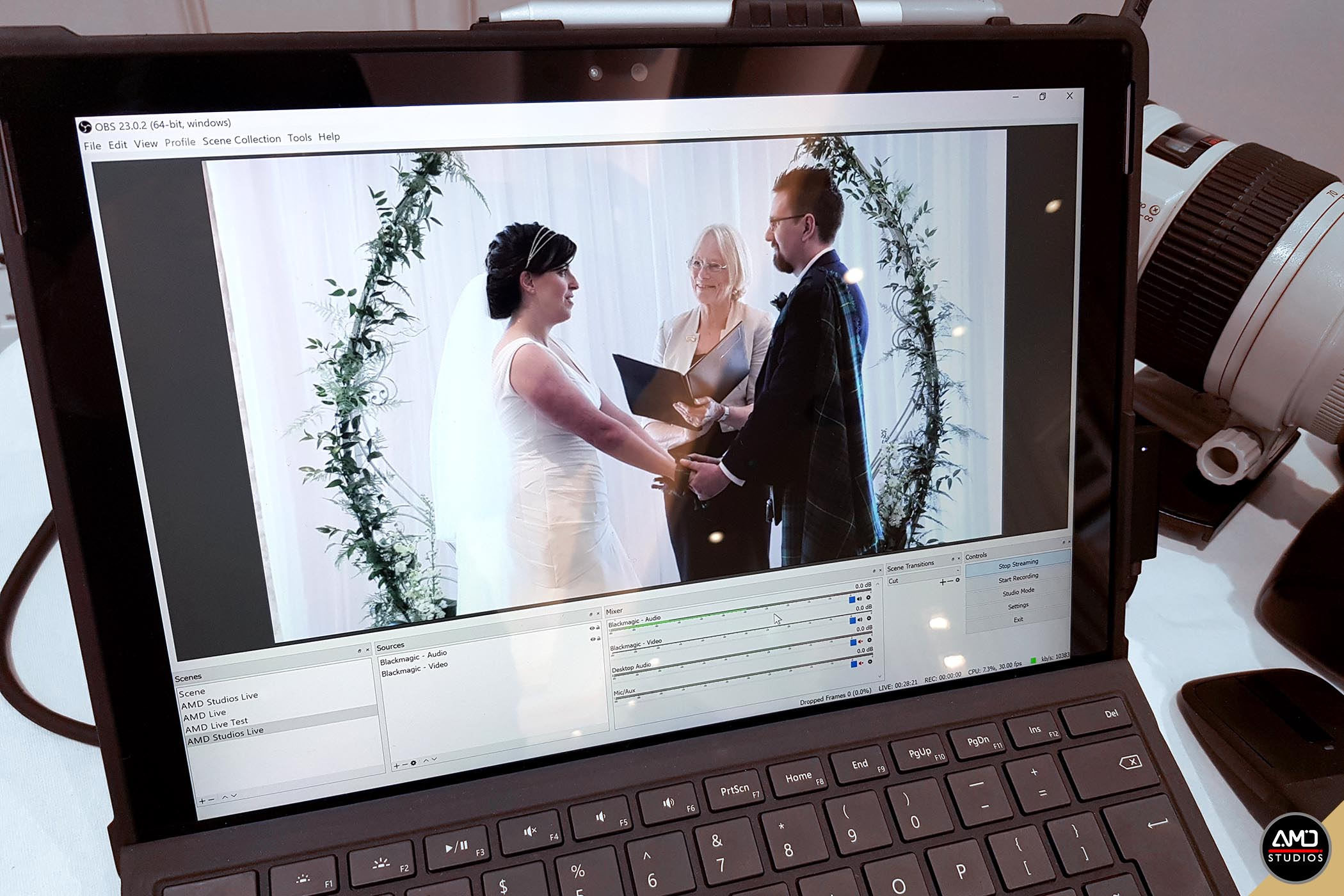 Live Streaming weddings by AMD Studios